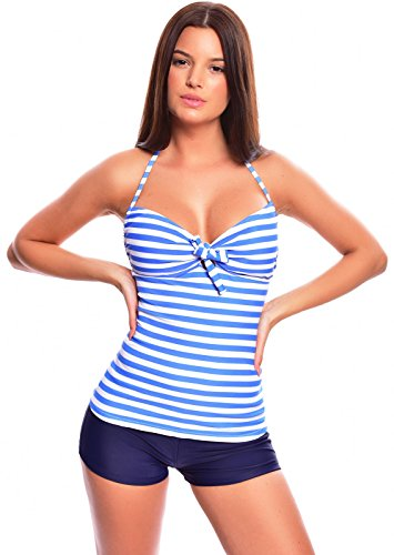 Push Up Tankini 1091EH-f4388 Blue/White striped, Hotpants Blue,size 12(L)
