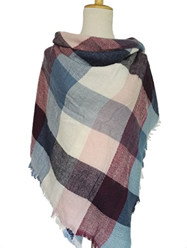 Black Friday TomYork Plaid Scarf Women Winter Thickening Warm Color Grid Square (Lace Keyhole Fingerless Gloves)