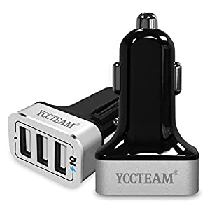 YCCTEAM 36W/7.2A Premium Aluminum 3 Port USB Car Charger Adapter Multi port USB Fast Charging 2.4 High Amps Each Port Smart IC for Apple Iphone, Ipad, Samsung, Tablet and More (Slivery)