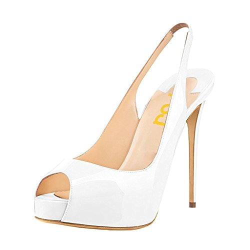 FSJ Women colorful Dress Sandals Slingback Peep Toe High Heels Pumps With Platform Size 9 White (Heel Pump Platform Women Slingback)