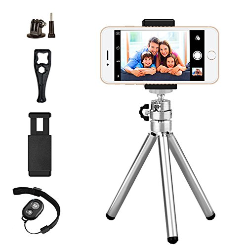 Mini Gopro Tripod,Metal Stretchable Stand Holder,Quality Adjustable iphone Tripod with Bluetooth Remote Control for iphone Android Phones GoPro Action Camera with Universal Clip Max Length 11.6inch