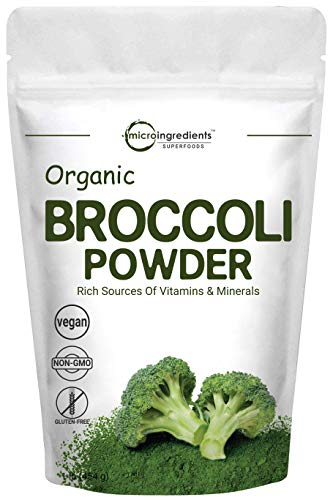 Micro Ingredients Organic Broccoli Sprout Extract Powder, 1 Pound (454g), Rich in Fiber, Amino Acids, Antioxidants and Flavonoids, Green Superfood for Smoothie and Drinks, Non-GMO and Vegan Friendly