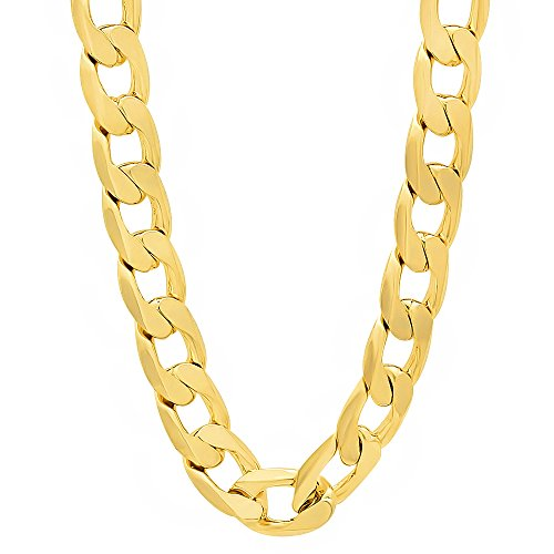 Life Time Warranty,6mm 7mm 8mm10mm 12mm Gold plated Cuban Chain,made in USA,30x thicker gold 20,24,30inch (30, 12mm) by BLING CULTURE