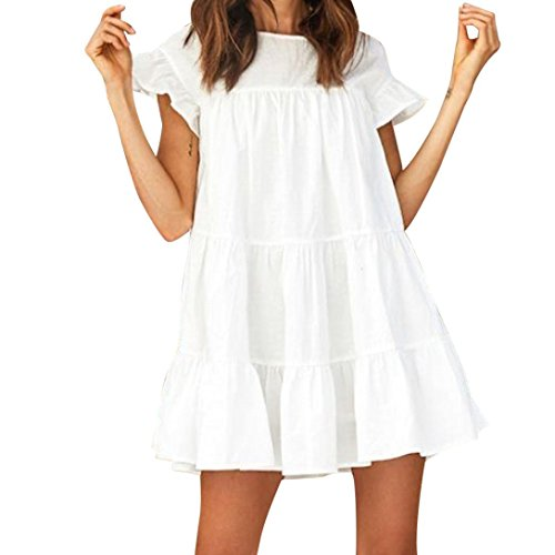 - OldSch001 Ladies Casual Loose Round Neck Cap Sleeve Solid Ruffled Short Mini Dress (M, White)