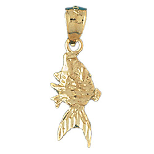 14K Yellow Gold Goldfish Pendant Necklace - 25 mm 14k Yellow Goldfish Pendant
