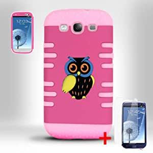 SAMSUNG GALAXY S3 I9300 3D PINK HOT PINK OWL HYBRID COVER HARD GEL CASE + SCREEN PROTECTOR from [ACCESSORY ARENA]