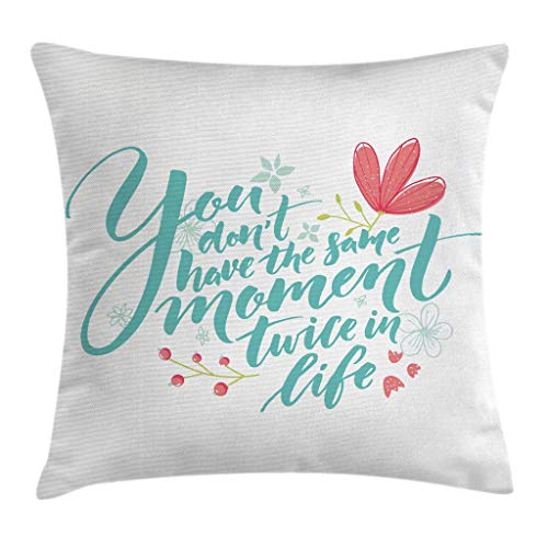 """Ambesonne Inspirational Saying Throw Pillow Cushion Cover, Inspirational Word Theme Hand Drawn Flowers in Pastel Colors Print, Decorative Square Accent Pillow Case, 16"""" X 16"""", Turquoise Pink"""