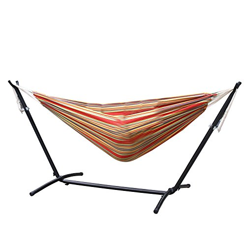 Price comparison product image Zeny Double Hammock With Space Saving Steel Stand Includes Portable Carrying Case, Red Stripe
