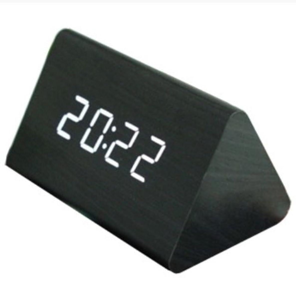 [해외] 멋쟁이 ♪【전3컬러】우드 그레인 다기능 LED 디지털 시계 음성 감지 자명종 탁상시계 clock 라이트의 색도 선택할 수 있! 컬러 베리에이션【블랙 검정/ 화이트화이트/ 브라운 묽은 차】