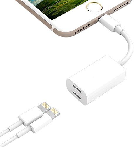 iPhone 7 / 7Plus/ 8 / 8Plus/ X Adapter & Splitter, 2 in 1 Dual Lightning Headphone Jack Audio + Charge Cable Adapter, Compatible for iOS 11 or later, Sync,Music Control,Charge Function