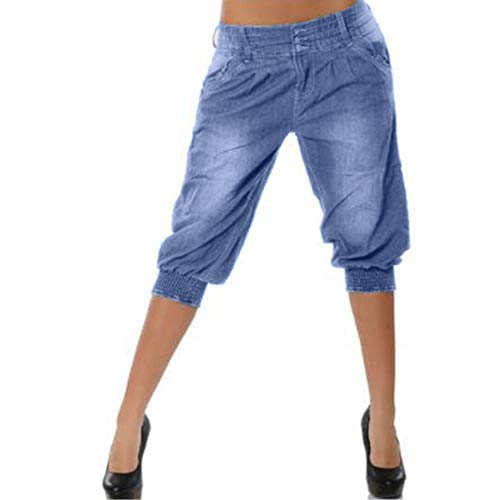 JOFOW Womens Midi Shorts Low Waist Loose Harem Pants Elastic Band Washed Comfy Straight Leg Denim Yoga Knee Length Jeans (XL =US:10-12,Light Blue)