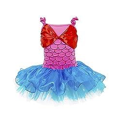 Jastore Girls Red Bowknot Mermaid Dance Dress Fancy Costume Ballet Dress (2-3 Years)