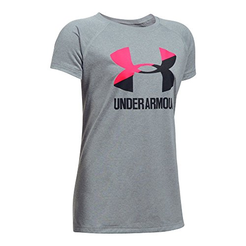 Under Armour Girls' Solid Big Logo Short Sleeve T-Shirt, Steel Light Heather/Black, Youth Medium (Girls Shirts Under Armour)