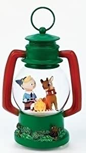 """8.25"""" Color Changing LED Lighted Rudolph and Hermey Camping Lantern Christmas Glitterdome"""