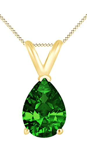 Jewel Zone US AFFY Women's Classic Simulated Emerald Pear Shape Pendant Necklace in 10k Solid Yellow Gold (2 1/2 cttw)