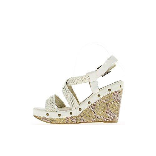Sandales compensées blanches à talons de 11 cm et plateau de 4 cm
