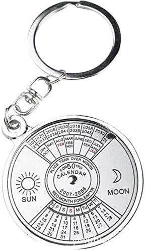 Tischkalender Kalendarien Mini Einzigartige Ewiger Kalender Metall Schlüsselanhänger Sonne-Mond-Skulptur 2010 bis 2060 Kalender-Schlüsselring-kreative Geschenke Keychain Zeitplan (Color : A)