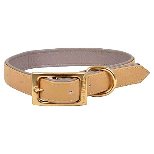- Flat Leather Dog Collar - L - Caramel - Boots & Barkley153;