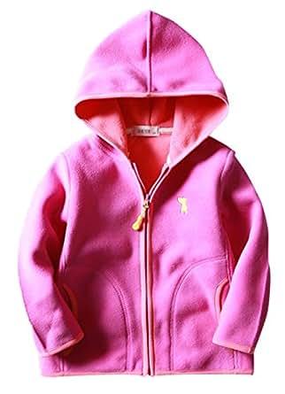 Happy Cherry Little Girls Fleece Outwear Hoodies Zipper Up Slant Pockets Slong Sleeve Jacket Coat 3-4T Pink