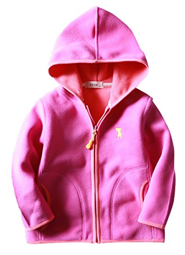 Toddler Girls Fleece Coat Embroidered Cartoon Dogs Pattern Spring Outdoor Kids School Uniforms 4-5T Pink