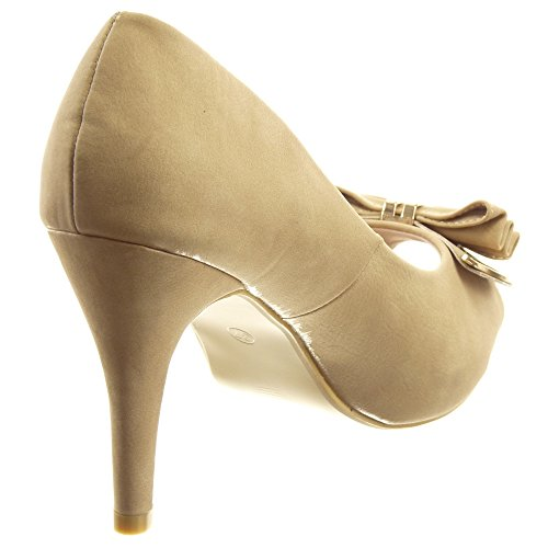 Sopily - Zapatillas de Moda Tacón escarpín Stiletto Zapatillas de plataforma Tobillo mujer metálico nodo Talón Tacón de aguja alto 10 CM - Caqui