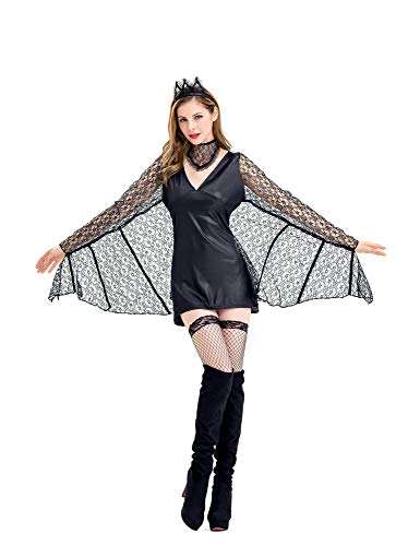VOLINER Womens Halloween Costume Dress Female Batman Cosplay Show Outfit Black -