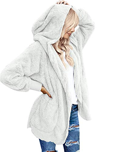 LookbookStore Women Hooded Pocket Cardigan Coat White XXL US 20-US 22 - Fur Oversized Coat