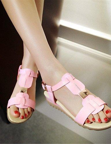 LFNLYX Zapatos de mujer-Tacón Plano-Comfort-Sandalias-Exterior / Vestido / Casual-Semicuero-Negro / Rosa / Blanco / Beige White