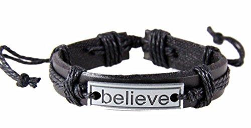 4030526 BELIEVE Leather Bracelet Hope Inspirational (Inspirational Leather Bracelets)