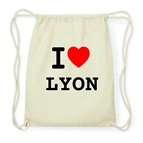 JOllify LYON Hipster Turnbeutel Tasche Rucksack aus Baumwolle - Farbe: natur Design: I love- Ich liebe qcDL4Nj