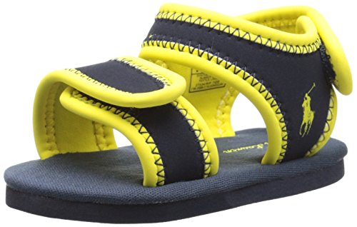 Ralph Lauren Layette Rip Tide Aqua Shoe (Infant/Toddler), Navy/Yellow, 3 M US Infant