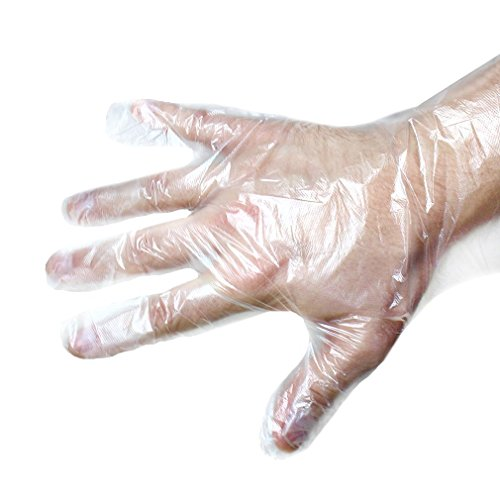 Disposable Gloves - These Disposable Food Prep Gloves Can Also be Used for Kitchen Cleaning, Plastic and Transparent - 100 Piece - One Size Fits -