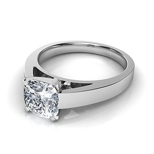 (luxrygold 1.20Ctw Cushion CZ Diamond 14K White Gold Pl Flat Edged Cathedral Solitaire Engagement Ring)
