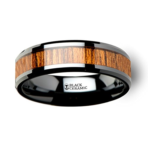 Thorsten SAGON Wood Black Ceramic Ring with Polished Beveled Edge and Genune Rich Teak Wood Inlay 6mm from Roy Rose Jewelry