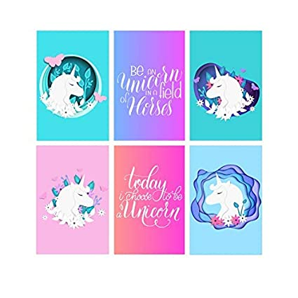 Set Of 6 11x17 Unicorn Wall Art Posters | Unicorn Room Decorations For Teen  Girls | Unicorn Poster For Girl Nursery Decor | Teen Girl Bedroom Decor |  Kids ...