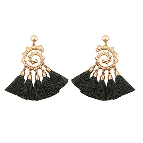 Voberry Bohemian Rattan Tassel Handmade Long Square Earrings Ladies Jewelry Gift for Women