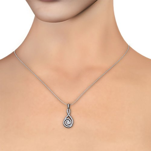 18 K Or Blanc 0,51 carat au total Round-cut-diamond (IJ | SI) Pendentif