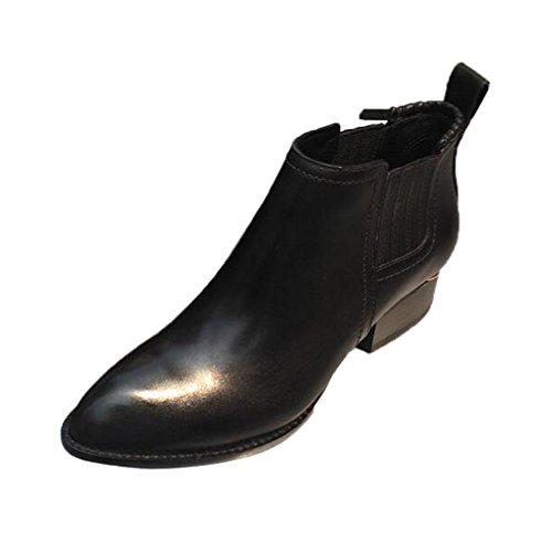 Pointed Toe Velvet Mid Heel Block Heels Kitten Pumps Shoes Women Ladies Black - 2