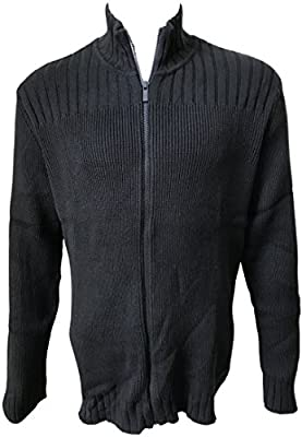 Calvin Klein Jeans Men's Cable Knit Ribbed Full Zip Sweater