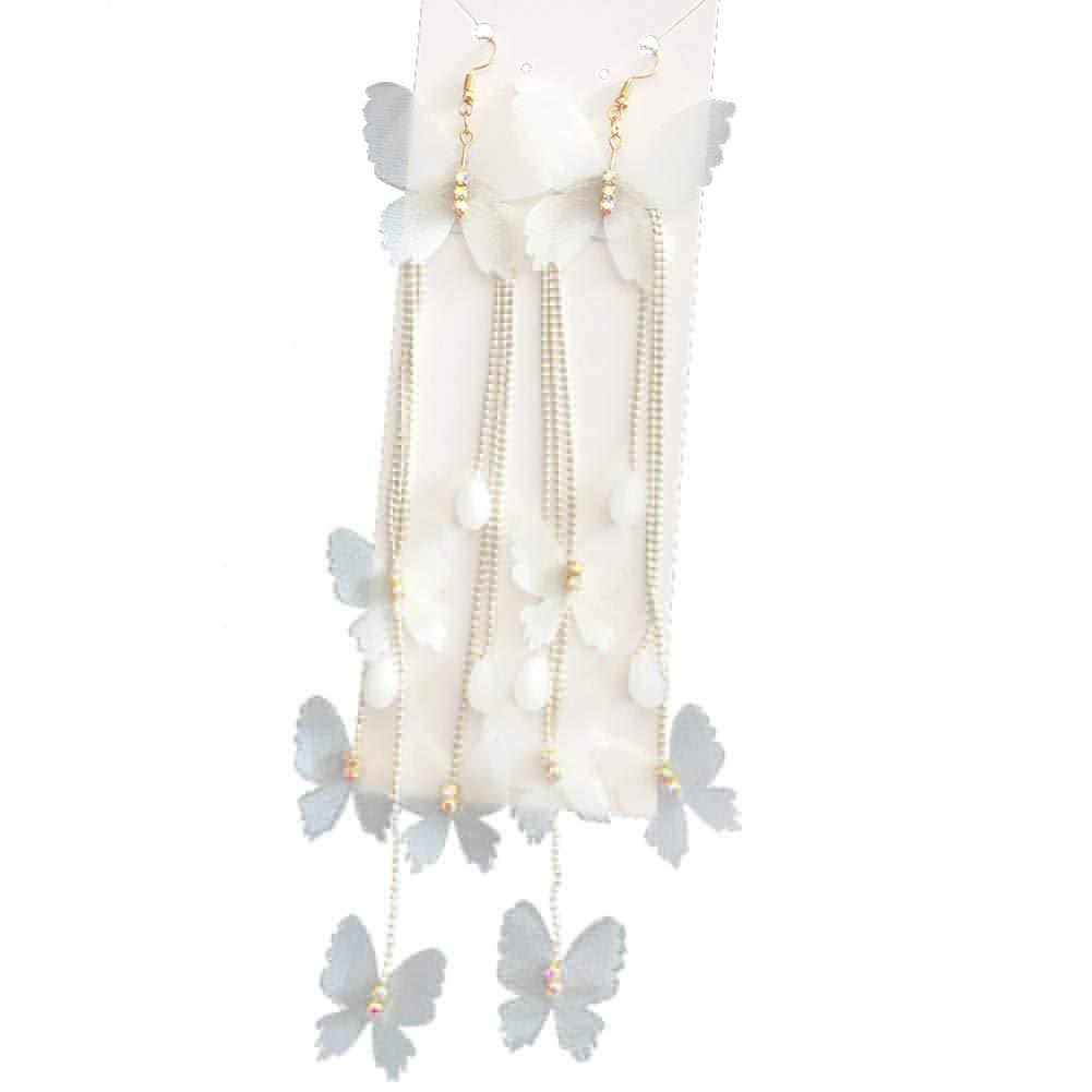 wsloftyGYd Women Bridal Cloth Butterfly Long Tassel Wedding Dangle Clip on/Hook Earrings Long Floral Butterfly Yarn Earrings Wedding Photo Bridal Dress Ear Accessories Hook Earrings