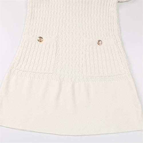 Para Damas Noche De Mujer Afcity Larga cuello Fiesta Formal Ropa Blanco Invierno Las Delgado Vestido Suéter Vestidos Punto O Manga Suave Jumper Noches tOIIq4Z
