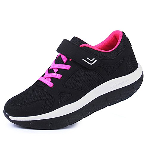 JARLIF Women's Comfortable Platform Walking Sneakers Lightweight Casual Tennis Fitness Shoes (9.5 B(M), Black)