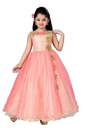 Aarika Girl's Self Design Net Fabric Birthday Special Ball Gown (G-2826-GAJRI_40_15-16 Years) by Aarika