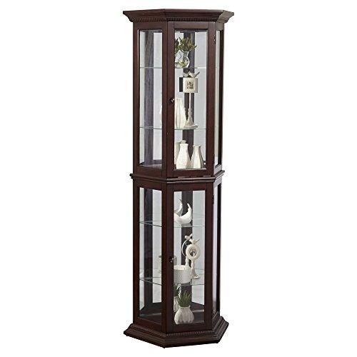 Pulaski Angled Cherry Curio Cabinet, 24″ x 11″ x 70″