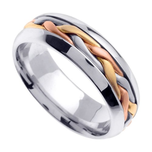 Tri Color Braided Wedding Ring for Women (6.5mm) Size 9 ()