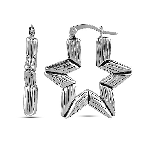 Bamboo Earrings Pattern (LeCalla Women's Sterling Silver Jewelry Antique Astronomy Bamboo Pattern Bali Hoop Earrings)