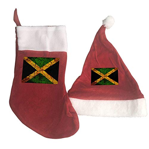 Vintage Jamaica Flag Santa Hat & Christmas Stocking Holiday Christmas Decorations Party Accessory -
