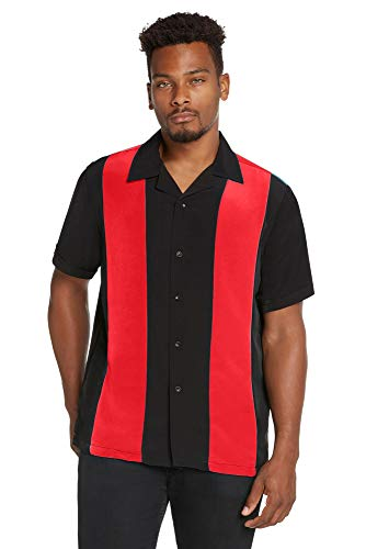 9 Crowns Men's Retro Bowling Bahama Camp Button-Down Shirt-Red/Black-XL