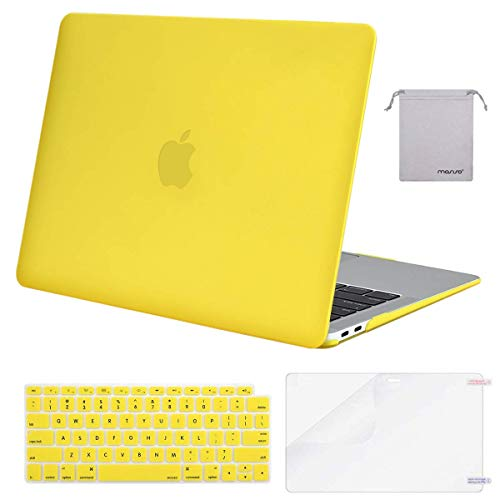 MOSISO MacBook Air 13 inch Case 2020 2019 2018 Release A2337 M1 A2179 A1932, Plastic Hard Shell&Keyboard Cover&Screen Protector&Storage Bag Compatible with MacBook Air 13 inch Retina, Yellow