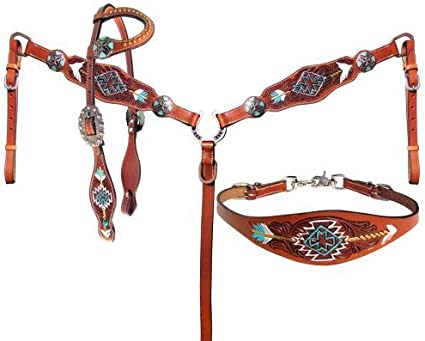 Turquoise Beaded Aztec Headstall Breast Collar Wither Strap /& Contest Rein NEW
